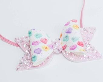 Conversation Hearts Print Pink Glitter Bow, Conversation Hearts Pink Glitter Bow, Glitter Bow, Glitter Bow Headband, Glitter Bow Hair Clip,