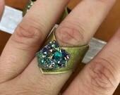 Rainbow Quartz Ring, Crystal Ring, Quartz Cluster Ring, Geode Ring, Adjustable Ring, Boho Ring, Gifts for Her, Stone Ring, Brass Ring,