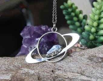 Kyanite Saturn Necklace, Celestial Jewelry, Galaxy, Outer Space Necklace, Wiccan Jewelry, Boho Pendant, Festival Fashion, Planet Jewelry