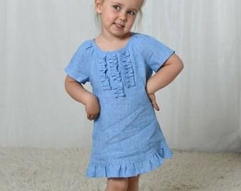 Blue linen dress, girls dresses, girls summer dress, toddler dress, baby girl dress, girls tunic dress, linen clothing, girls clothing