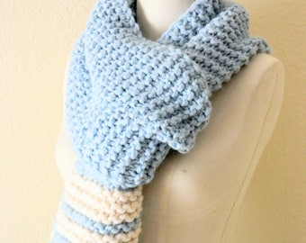 Light Baby Blue and White off-white Long Unisex Fibonacci Sequence Hand Knit Scarf, Ready to ship