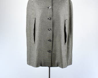 1950's ANTHONY BLOTTA Black and White Wool Houndstooth Cape