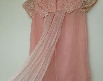 Vintage 1960s Pink Lace and Chiffon Kinderwhore Shabby Chic Dress
