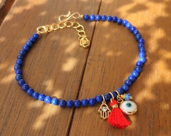 Evil Eye Beaded Gold Hamsa Bracelet - Lapis Lazuli Bracelet - Red Silk Tassel Bracelet