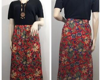 Red Floral Paisley Skirt // Vintage Blair Skirt Paisley Print Floral