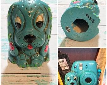 Vintage Blue Dog Ornament // Home Decor // Dog // Basset Hound Decor