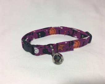 Halloween Purple and Black Breakaway Adjustable Cat Collar with Bell