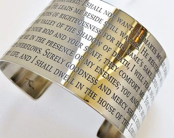 The 23rd Psalm Cuff Bracelet . The Lord is My Shepherd Bracelet . Inspirational Jewelry . Psalm 23 Jewelry . Tatum Bradley