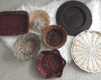 Wall Basket Collection Boho Decor Vintage Bohemian Baskets Set of 7