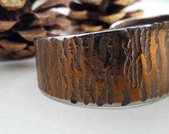 Custom Bronze Copper Hand Forged Cuff Bracelet Hypoallergenic Unisex Stainless Steel Anvil Textured Signed Original by Robert Aucoin Artist