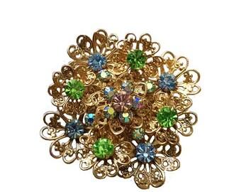 Vintage Blue Green and Aurora Borealis Rhinestone Fancy Gold Filigree Diamond Shaped Brooch Pin
