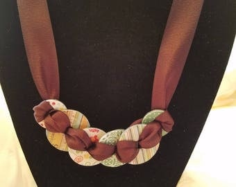 Industrial Chic Upcycled Hardware - Glazed Washer and Ribbon Necklace, Earth Tones & Mixed Patterns