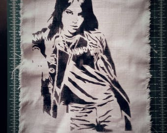 Joan Jett the Runaways punk patch back patches artist portrait street art spray paint feminist patchwomen in punk the Blackhearts