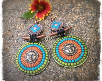 SUN MANDALA Earrings Ancient Japanese style Painted jewelry Sun Face earrings colorful Disk earrings Festival Tribal long earrings GPyoga