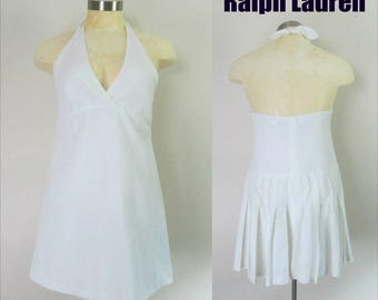 Ralph Lauren Dress // White Pleated Halter Micro Mini Tennis Skirt
