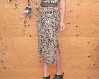 Vintage 80's Dress Leopard Print Maxi Summer DressButtons Up The Front SZ Small