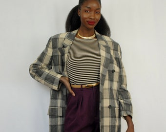 Black and ecru plaid cotton double breasted blazer 1990s 90s VINTAGE