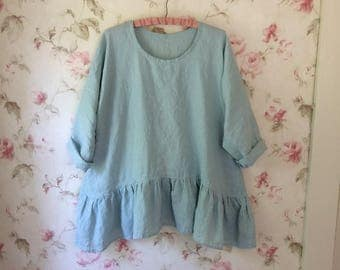 Washed Linen Shirt Linen Blouse Romantic Ruffles Tunic Sweet Prairie Lagenlook 50 Bust