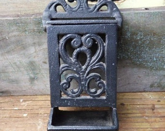 Vintage cast iron Match holder Wall hanging Victorian Primitive box Rustic Salvage hanging storage