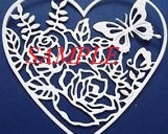 Roses and Butterfly Heart PDF Cross Stitch Chart//Instant Download/Single Colour