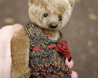 "Poppet, Miniature 5"" Brown Mohair Artist Teddy Bear by Aerlinn Bears"