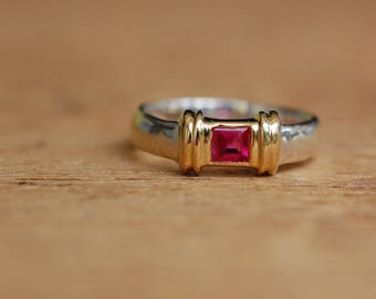 Vintage 18K and sterling Tiffany ruby stacking ring