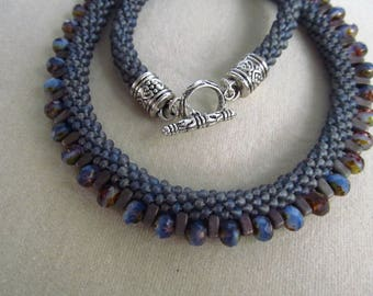 Blue Gray Purple Beaded Kumihimo Necklace