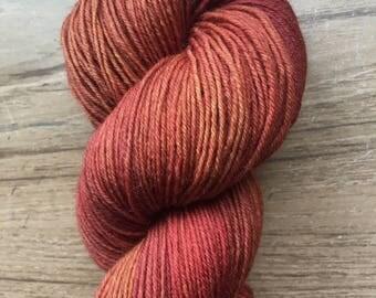 Terra Cotta Hand Dyed Wool Sock Yarn