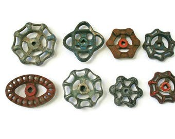 8 Vintage Valves  /  Assorted Colors  /  Water Faucet Knobs  /  Water Spigot Handle  /  Furniture Hardware  /  Repurpose Supplies