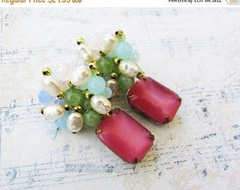 MOVING SALE On Sale Birthday Cake,Vintage 1950s Pastel & Pearl Clusters, Rosey Pink Moonstone Altered Upcycled Vintage Post Earrings by Holl