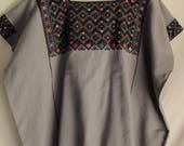 Vintage Huipil Guatemalan Top Grey Black Multicolor Hand Embroidered Ethnic Boho Festival Top Tunic Hippie Top Mexican Mayan