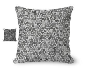 Throw Pillow Cover, modern pillow cover, neutral decor, gray mosaic design, gray home decor, decorative pillow cover, printed accent pillow