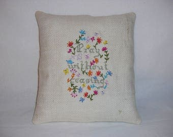 Christian Embroidered Handmade Pillow, Inspirational Pillow, Religious Decor, Decorative Pillow, Praying, Accent Pillow, Home Decor