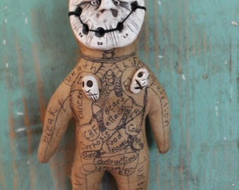 Original Handmade Hoodoo Voodoo Doll Spiritual Folk Art Fetish Macabre Curiosity or Witch Poppet With Extreme Primitive Avante gard Flair