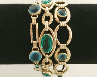 Art Deco Bracelets, Art Deco Jewelry, Stacking Simmons Bracelets, Sterling Silver and Gold Vermeil, Blue & Green Rhinestones Mint Condition