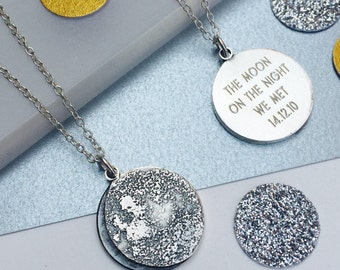 Personalized Moon Phase Necklace in sterling silver