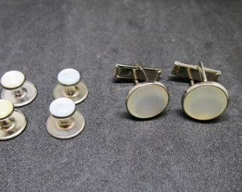 Cuff Links Stud Set  Silver Mother of Pearl Cuff Links 4 Matching Shirt Studs Signed Pioneer Mid Century Mens Tuxedo Cuff Link Set