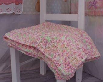 Crocheted Baby Blanket 27.5 x 29 inches Pink, Orange, Purple, Green, White