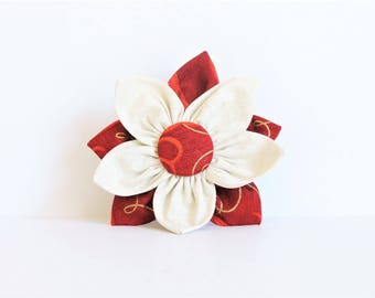 Red/Beige Layered Clip-on Fabric Flower Pet Collar Accessory - Winter/Christmas Wedding Dog/Cat Collar - Wedding/Photo Shoot Prop for Pets