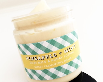 Pineapple Mint Lotion, Hand Lotion, Body Lotion, Goat Milk Lotion, Body Cream, Hand Cream, Pinapple Lotion, Mint Lotion, Tropical, Summer