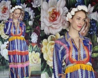 RARE Vintage 1960s Blue Midi Rainbow Neon Sheer Fringe Embroidered  Boho Hippie Folk Ethnic Dress - Festival Dresses - 60s Dress -  WV0582