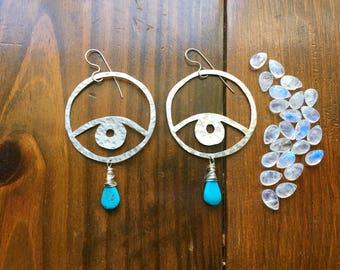 Eye earrings, big metal eye and turquoise earrings, ojo earrings