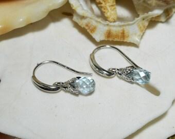 Sterling Silver Blue Topaz Briolette Drop Dangle Earrings 1.40ctw 1.55g