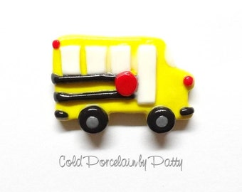 Cold Porcelain Clay School Bus Bow Center, Pendant, Ornament, Purse Charm, Keychain, Bus Magnet, Brooch /Back To School Necklace, Jewelry