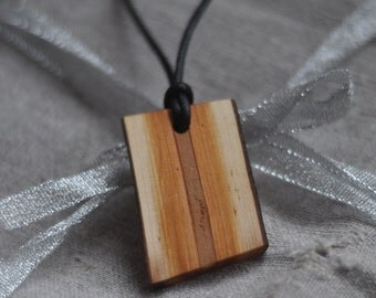 wood necklace  •  red willow wood pendant  •  wooden necklace