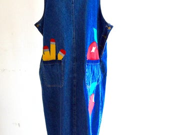 Vintage 80s Faded Glory Jeans Co Denim Overall Jumper Maxi Dress Patches Shift Dress Coachella Fashion