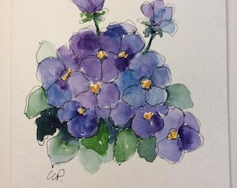 Purple Pansies Watercolor Card / Hand Painted Watercolor Card