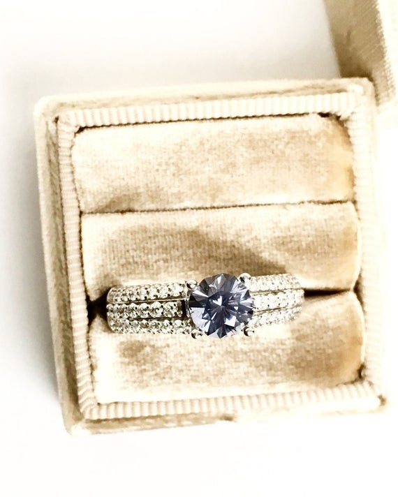 Slate Blue Spinel and Diamond Ring