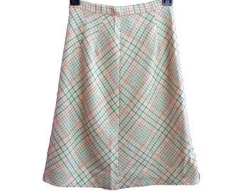 Vintage Skirt Olive, Orange, Tan Plaid A-Line Skirt Old Salem 60's Fashion School Girl Preppy Size 8
