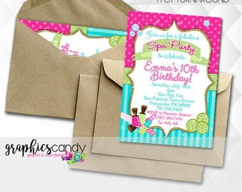 Spa Party Invitation - Birthday Party or Baby Shower Invitation - Photo Invite - Printable - DIY - Digital File